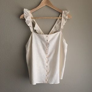 Madewell Ruffle-Strap Cami Top in Vintage Lace